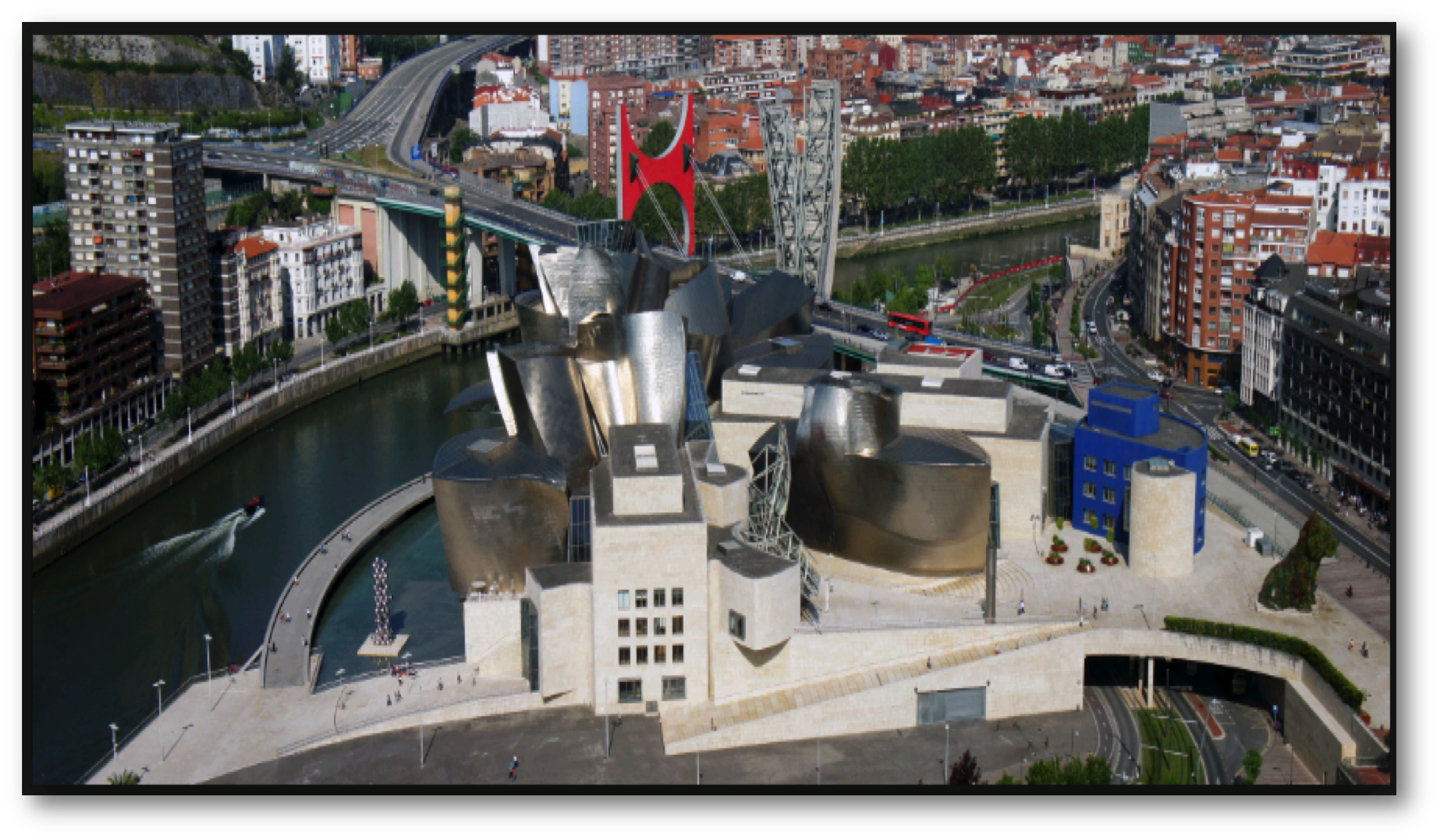 Figure 1. Aerial photograph of the Guggenheim Museum building (Frank Gehry, 1997) in Bilbao, Spain.