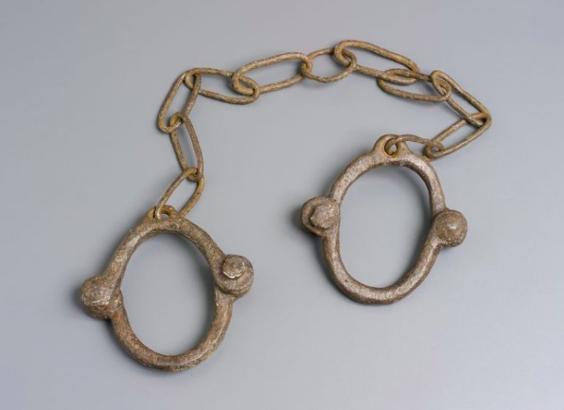 """Figure 21. """"Convict iron leg manacles"""" by Unknown. ca. 1772-1886, Australia. Museum of Applied Arts and Sciences."""