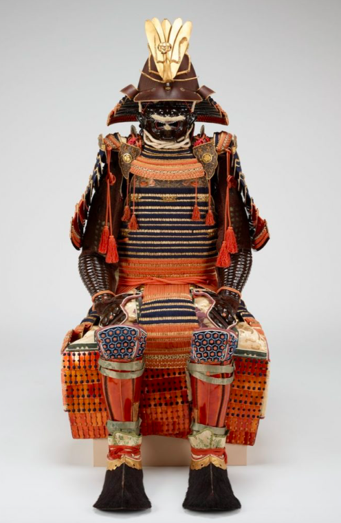 """Figure 20. """"Red-and-blue-laced Suit of Armor from the Kii Tokugawa Family"""" by Unknown Artist. Mid-17thc, Japan.Minneapolis Institute of Art."""