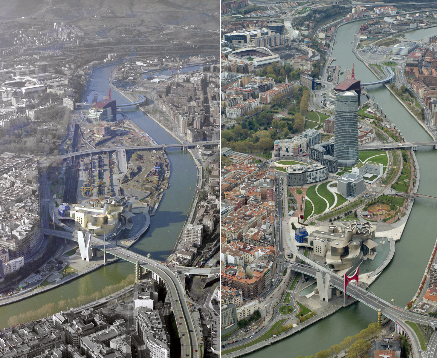 Figure 3. Aerial photographs of the Guggenheim Museum within the Abandoibarra redevelopment in downtown Bilbao, Spain, in two different years: 2005 (left) and 2017 (right).