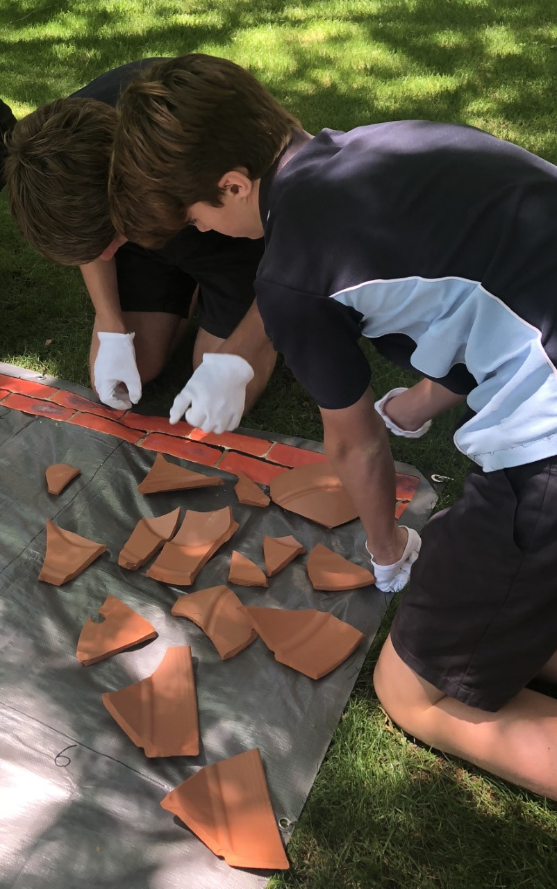 Figure 4. Year 8 students from Numurkah carrying out pottery reconstruction during their Melbourne Visit. Photo: Sharyn Volk.